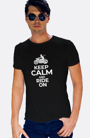 Keep Calm And Ride On Men's Tshirt - Black