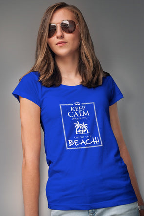 Keep Calm And Lets Go To the Beach Women's Tshirt - Blue