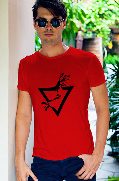 Abstract Splash Print Men's Tshirt - Red