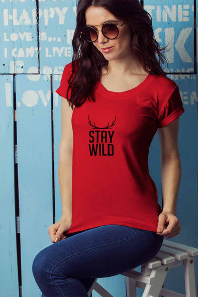 Stay Wild Women's Tshirt - Red