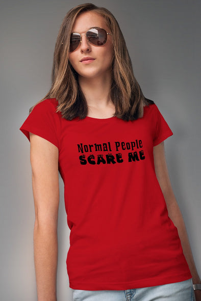 Normal People Scare Me Women's Tshirt - Red