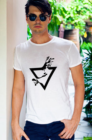 Abstract Splash Print Men's Tshirt - White