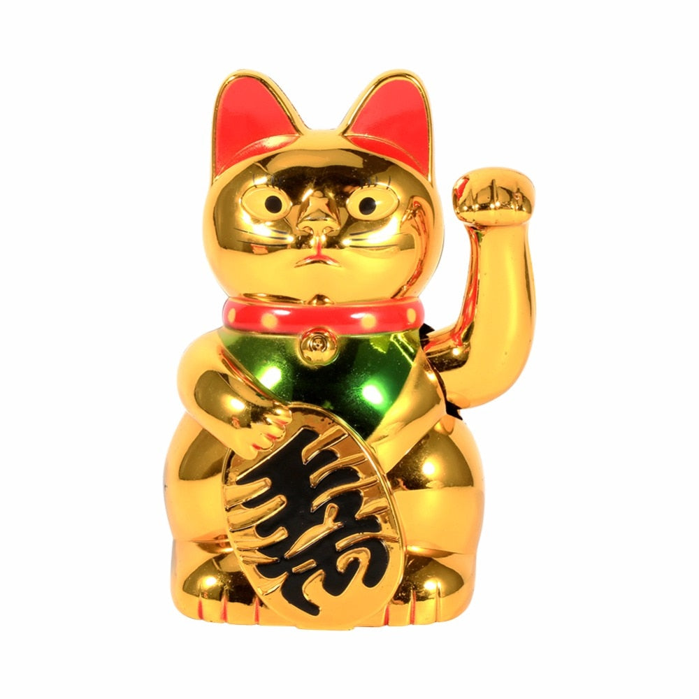 Chinese Lucky Wealth Waving Cat Gold Statue Pershality