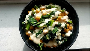 Beans & Greens with Tres Vinegres-Tahini dressing