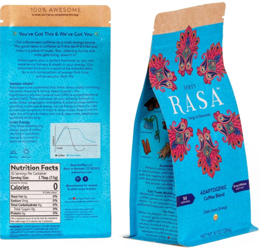 "Rasa® ""Dirty"" Adaptogenic coffee and herb blend - 8oz (226g)"