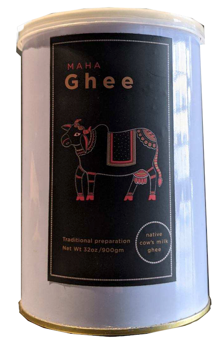 MAHA GHEE 32oz Can Gir Cow ghee made at The Green Ashram in Gujarat India