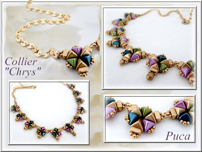 "Free Tutorial: Necklace ""Chrys"" made of Super-Kheops par Puca"