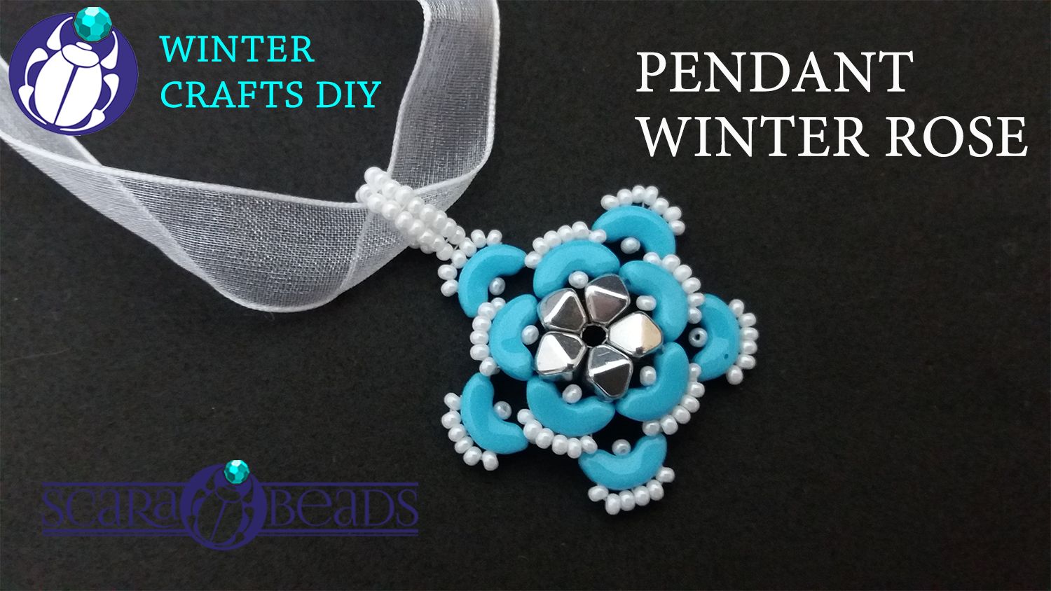 DIY: Beaded Pendant Winter Rose made of Arcos par Puca