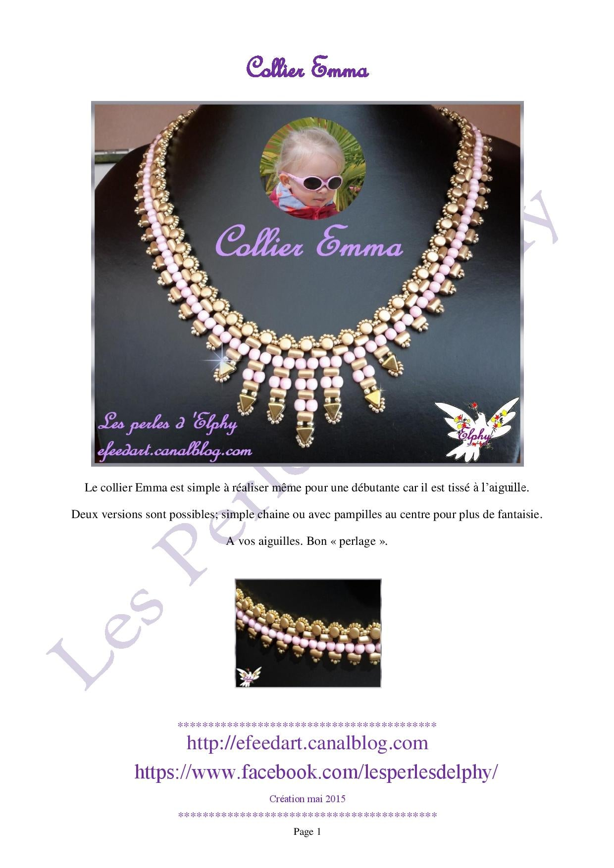 "Free Tutorial: Сollier ""EMMA"" with Khéops® par Puca® Beads"