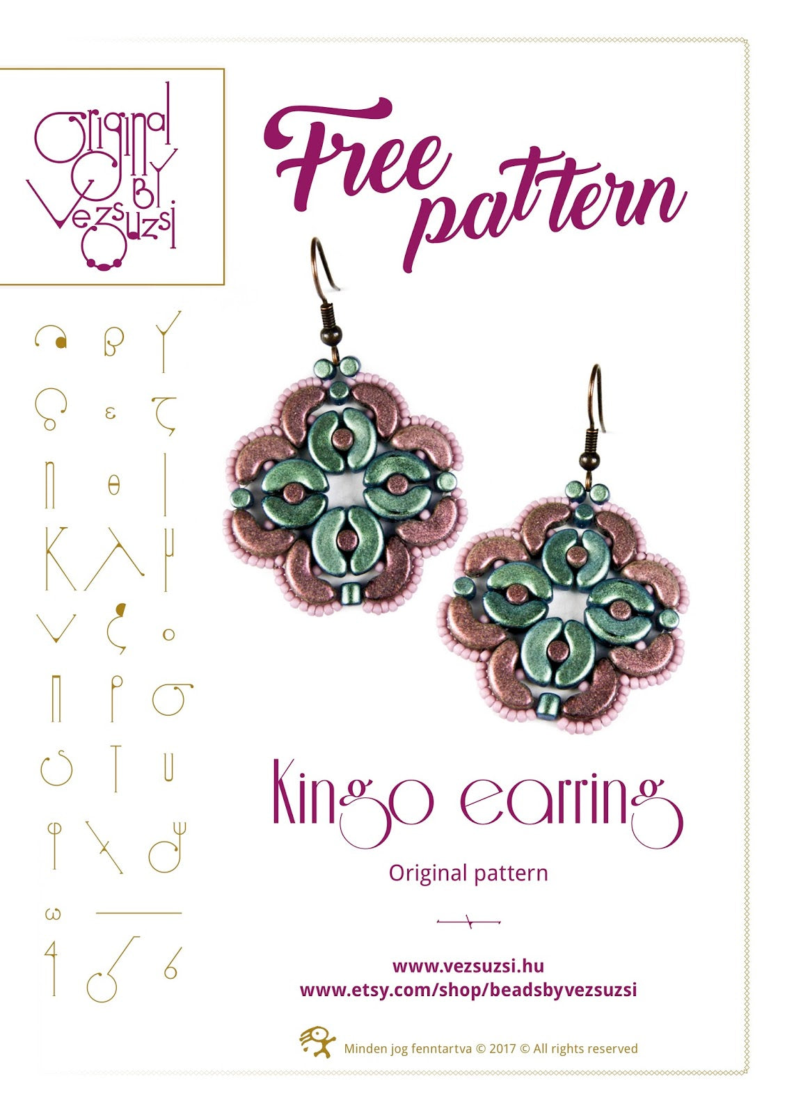 Free Tutorial: Kingo Earrings by Vezsuzsi