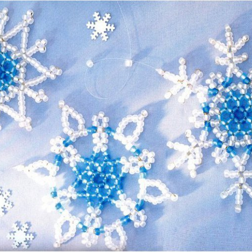 Beaded Snowflakes made of Bugles and Seed Beads