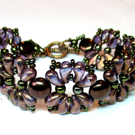 "Free Tutorial: Bracelet ""VIOLETS"" with ZoliDuo Beads"