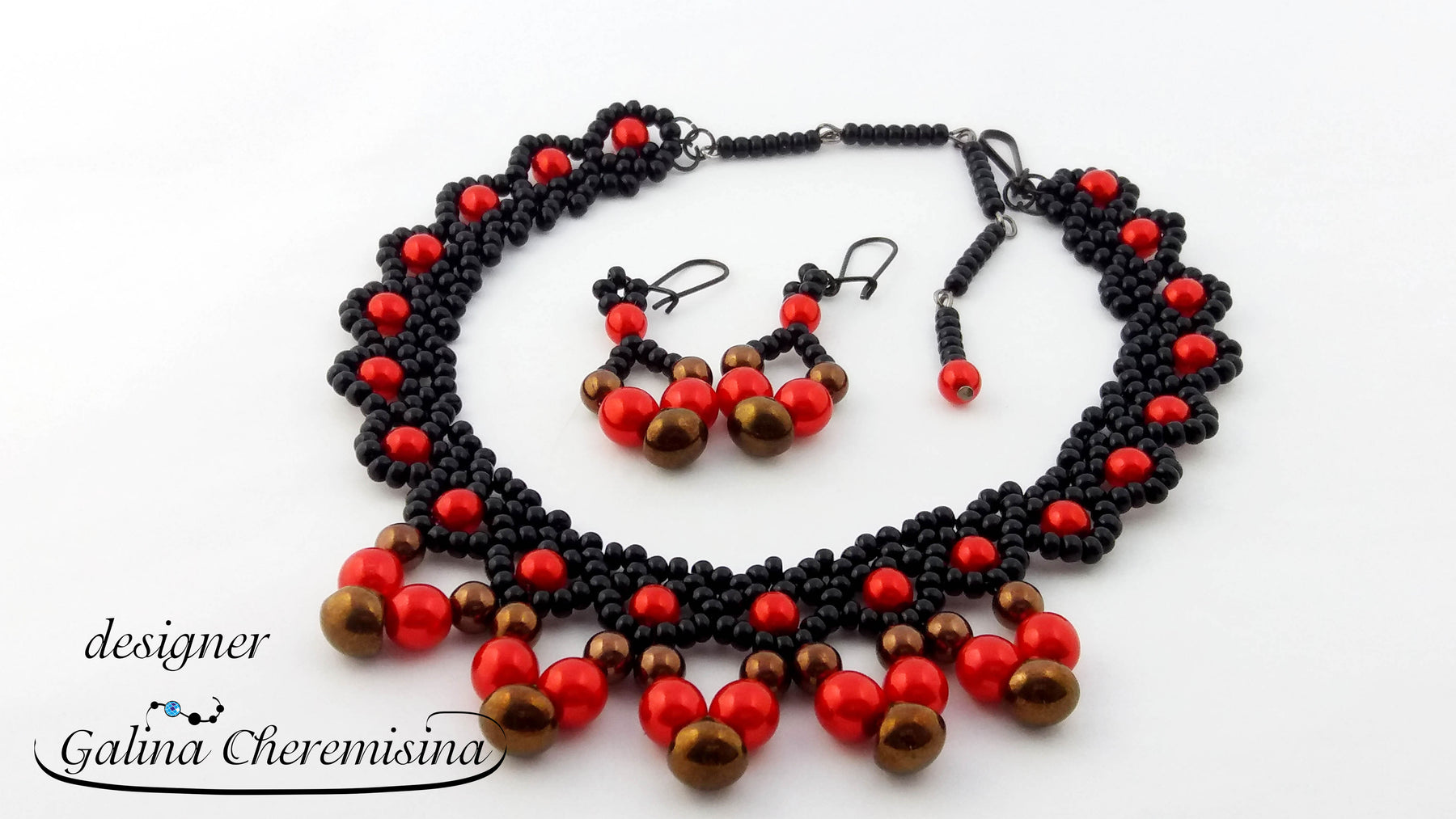 "DIY: Jewerly set ""Cranberrie"" with czech glass Mushroom Beads"