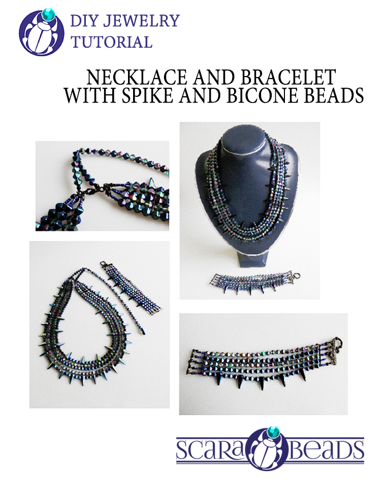 Necklace and Bracelet made of Spike and Bicone Beads