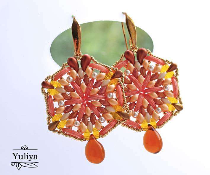 Free tutorial with SuperDuo and ZoliDuo beads – Peach Earrings