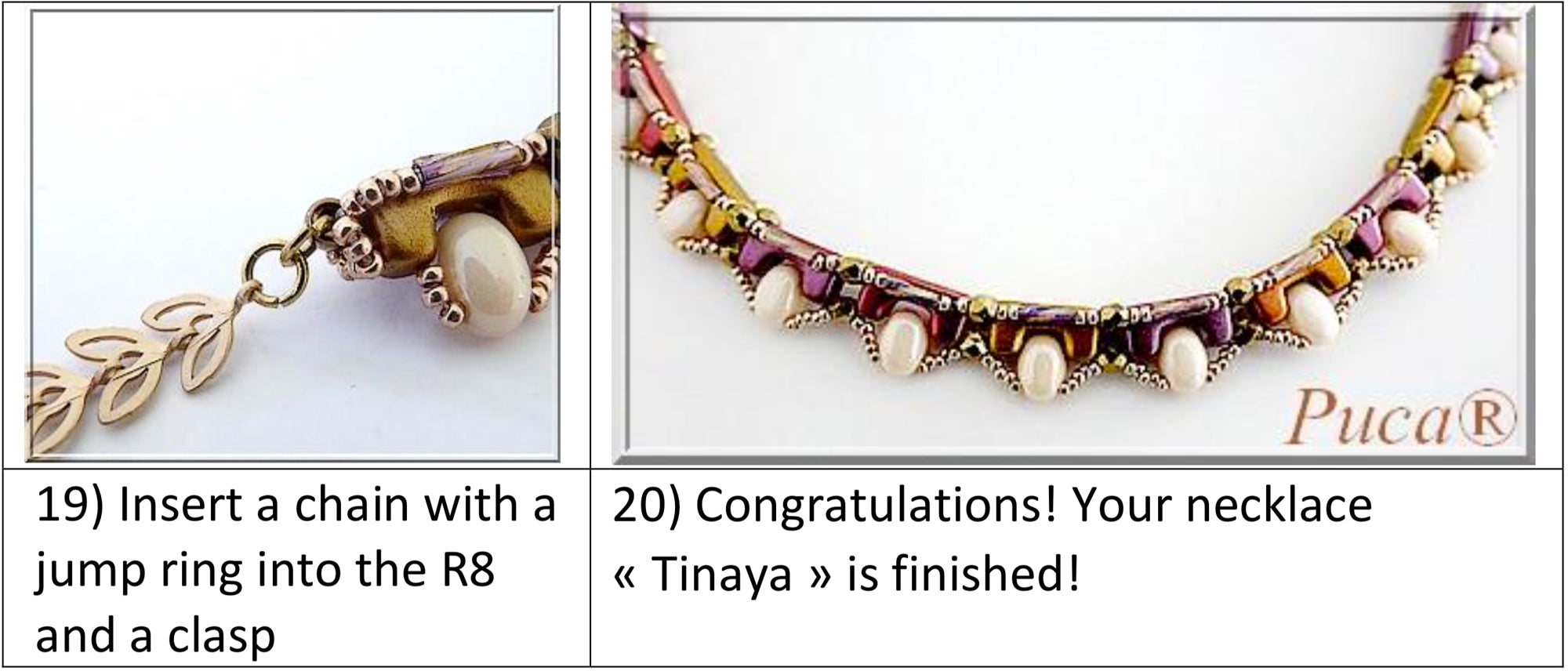 Tinaya Necklace Free Tutorial by par Puca - 19-20 steps