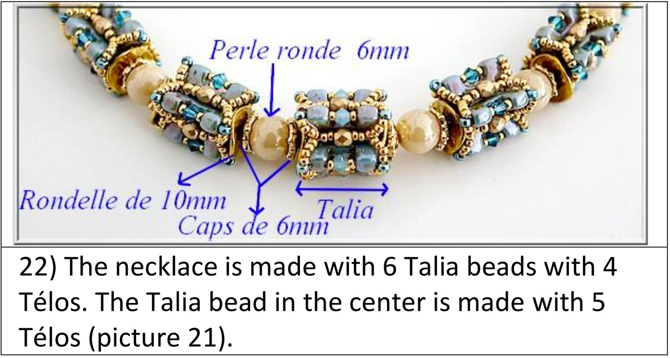 Talia beaded element by par Puca with Telos beads - free tutorail beaded pattern