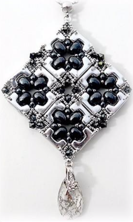 free beading pattern for pendant with Telos and Samos par Puca beads