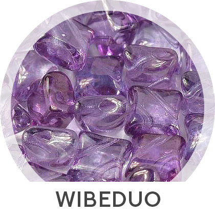 Nuria Bracelet free photo tutorial with Arrow beads and WibeDuo beads - purple lilac WibeDuo