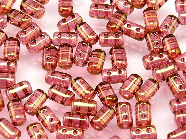 20 g 2-hole Rulla™ Seed Beads, 3x5mm, Crystal Red Luster, Czech Glass