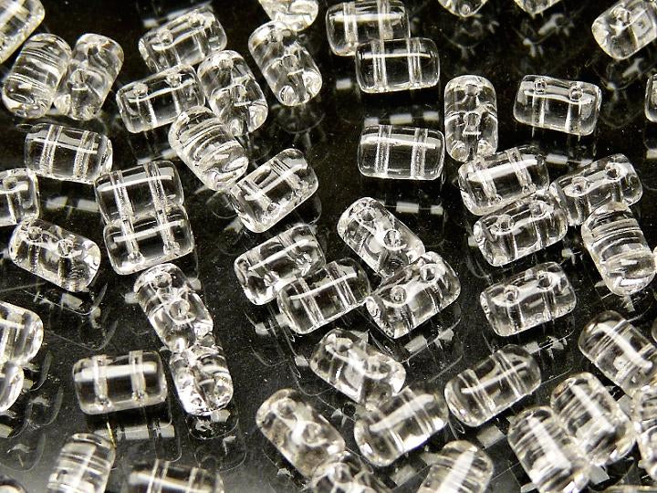 20 g 2-hole Rulla™ Seed Beads, 3x5mm, Crystal Clear, Czech Glass