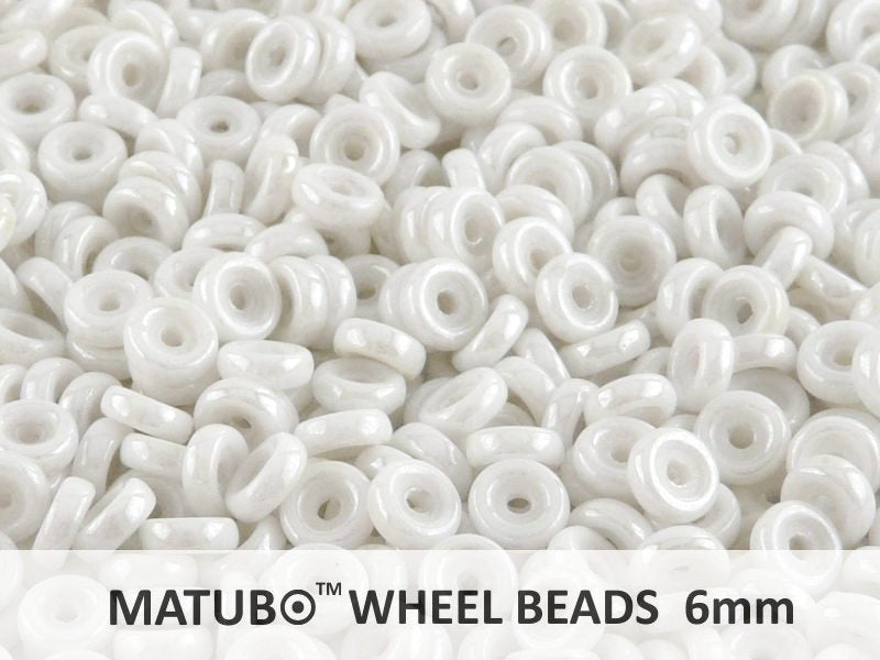 10 g Wheel MATUBO Pressed Beads, 6mm, Chalk White Luster, Czech Glass
