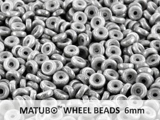 10 g Wheel MATUBO Pressed Beads, 6mm, Chalk Black Luster, Czech Glass