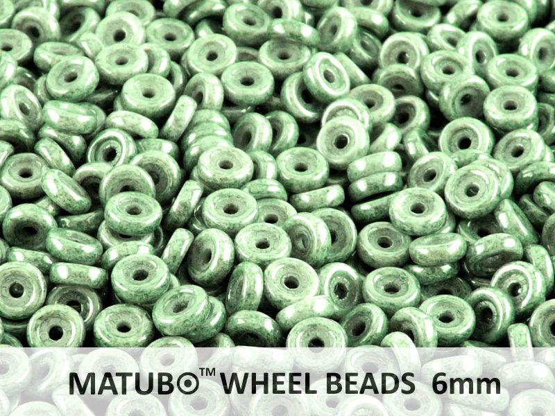 10 g Wheel MATUBO Pressed Beads, 6mm, Chalk Green Luster, Czech Glass