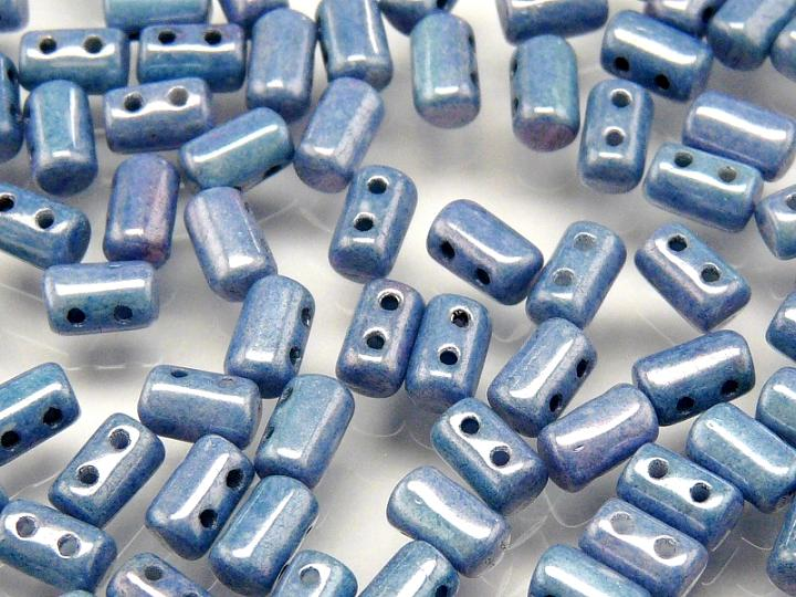 20 g 2-hole Rulla™ Seed Beads, 3x5mm, Chalk Blue Luster, Czech Glass