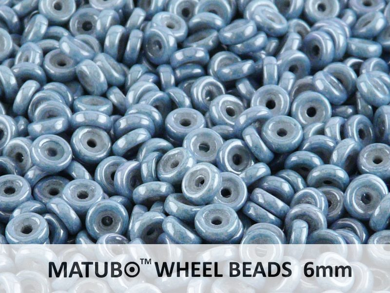 Wheel MATUBO Pressed Beads, 6mm, Chalk Blue Luster, Czech Glass