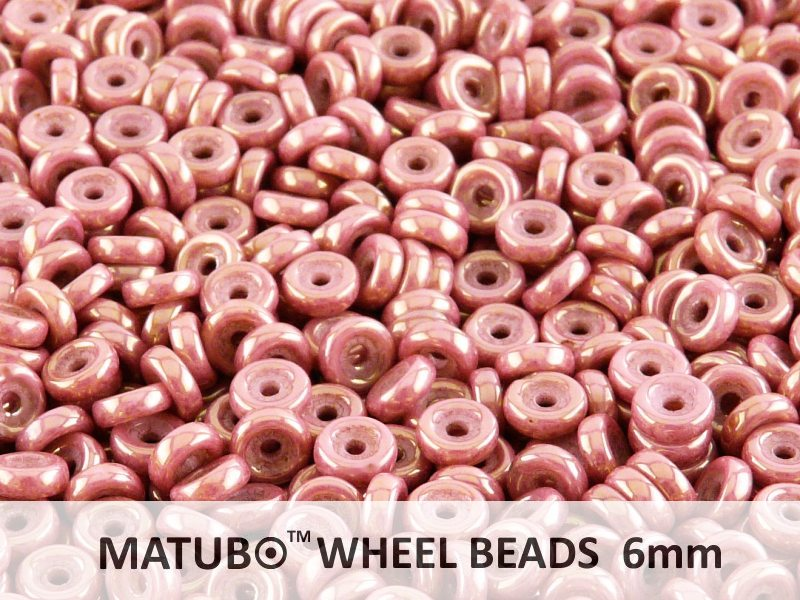 10 g Wheel MATUBO Pressed Beads, 6mm, Chalk Red Luster, Czech Glass