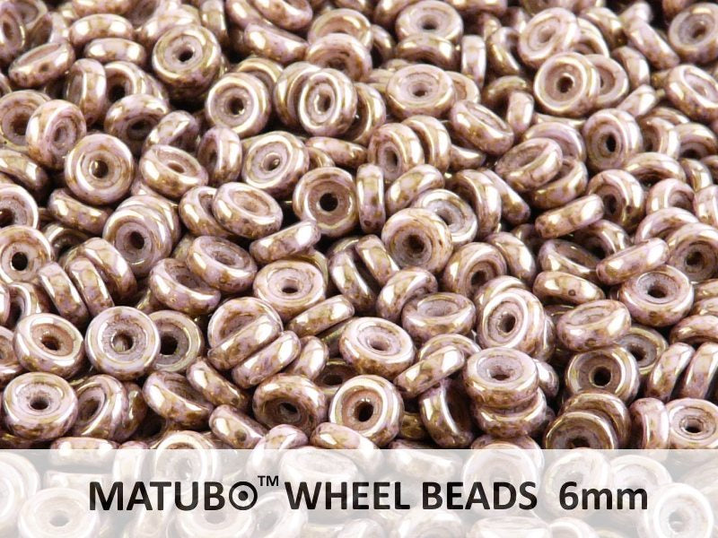 Wheel MATUBO Pressed Beads, 6mm, Chalk Violet Brown Senegal, Czech Glass