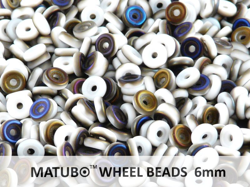 10 g Wheel MATUBO Pressed Beads, 6mm, Chalk Azuro Matte, Czech Glass
