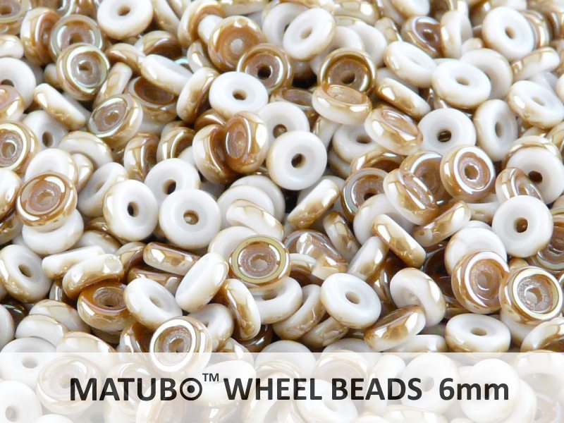 10 g Wheel MATUBO Pressed Beads, 6mm, Chalk Celsian, Czech Glass