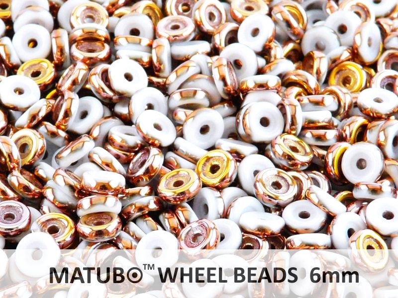 10 g Wheel MATUBO Pressed Beads, 6mm, Chalk Gold Capri, Czech Glass