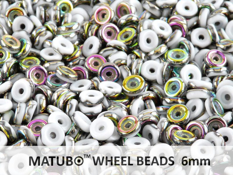 Wheel MATUBO Pressed Beads, 6mm, Chalk Vitrail, Czech Glass