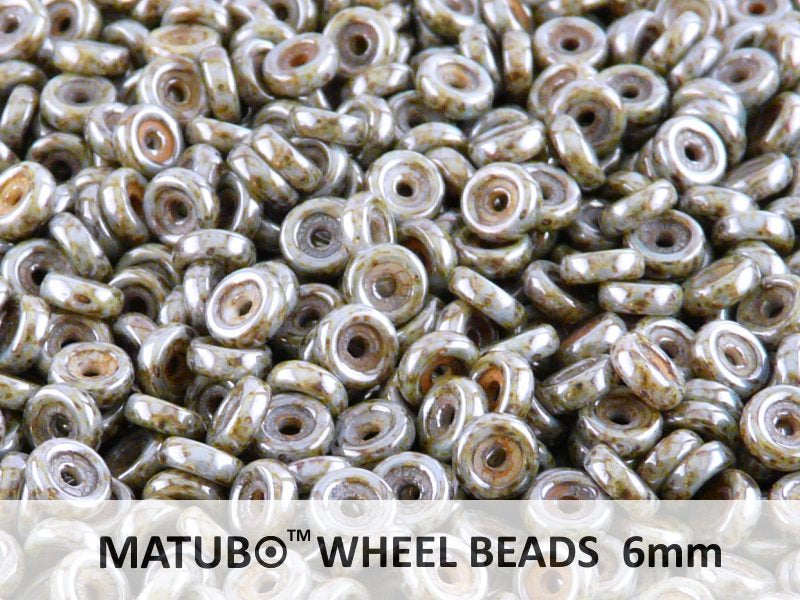 10 g Wheel MATUBO Pressed Beads, 6mm, Chalk Blue Lazure, Czech Glass