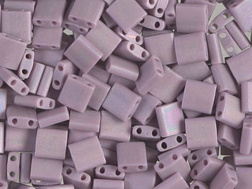 Tila™Beads 5x5 mm, 2 Holes, Opaque Mauve Matted AB, Miyuki Japanese Beads