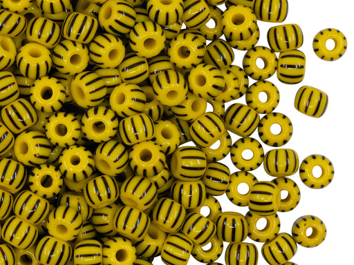 Rocailles Seed Beads 5/0, Opaque Yellow With Black Strips, Czech Glass