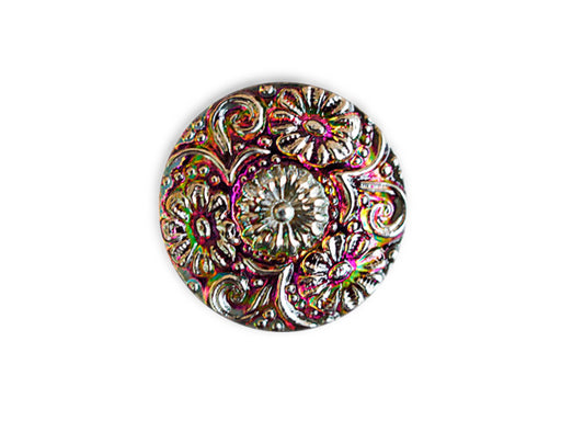 1 pc Czech Glass Button, Rosaline Silver Ornament, Hand Painted, Size 10 (22.5mm)