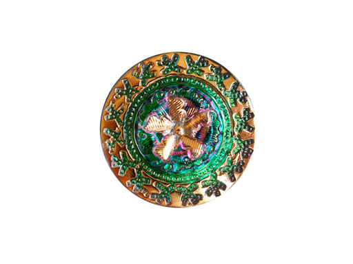 1 pc Czech Glass Button, Green Vitrail Gold Ornament, Hand Painted, Size 10 (22.5mm)