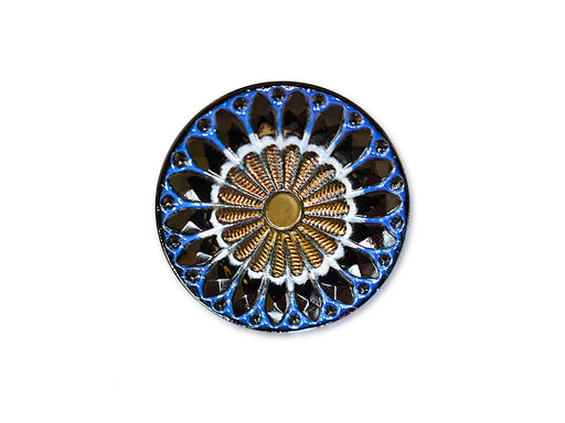 1 pc Czech Glass Button, Black Blue White Ornament Gold Flower, Hand Painted, Size 10 (22.5mm)