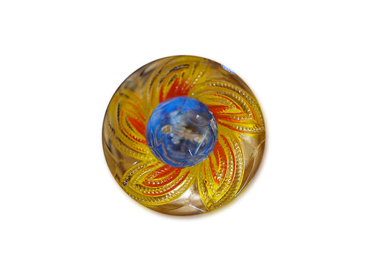 1 pc Czech Glass Button, Yellow Blue, Hand Painted, Size 10 (22.5mm)