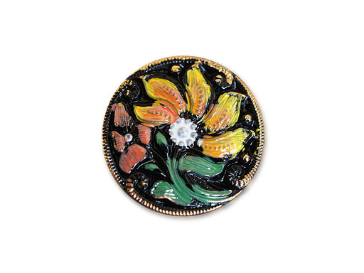 1 pc Czech Glass Button, Black Flower, Hand Painted, Size 10 (22.5mm)
