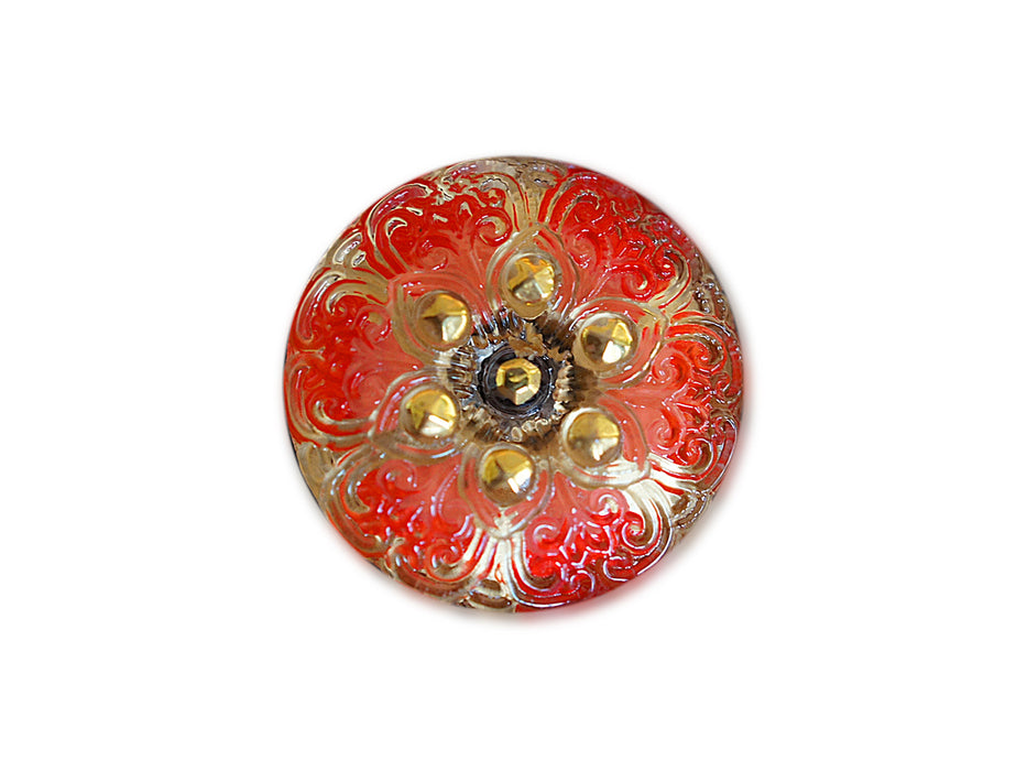1 pc Czech Glass Button, Crystal AB Red Ornament with Gold, Hand Painted, Size 10 (22.5mm)