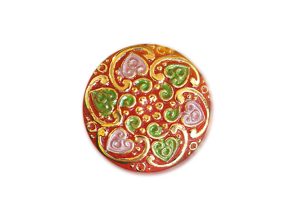 1 pc Czech Glass Button, Red Gold Dragonfly, Hand Painted, Size 10 (22.5mm)