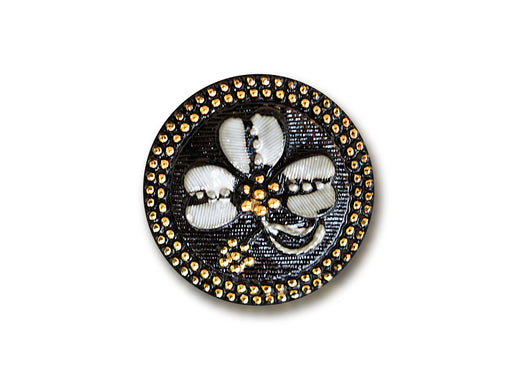 1 pc Czech Glass Button, Black Gold White Clover, Hand Painted, Size 10 (22.5mm)