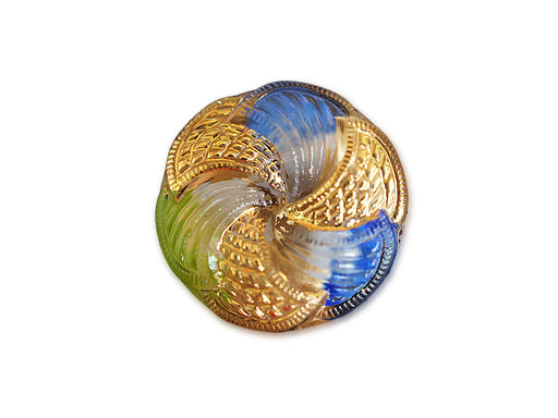 1 pc Czech Glass Button, Golden Blue Green, Hand Painted, Size 10 (22.5mm)
