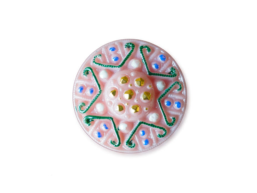 1 pc Czech Glass Button, Light Pink Opal Blue Green Gold Ornament, Hand Painted, Size 10 (22.5mm)