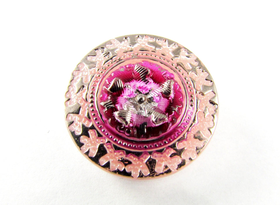 Czech Glass Button Pink Silver Hand Painted Size 10 (22.5 mm) Pink Silver
